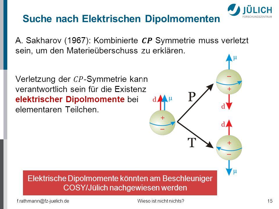 Suche nach Elektrischen Dipolmomenten f.rathmann@fz-juelich.deWieso ist nicht nichts?15 Elektrische Dipolmomente könnten am Beschleuniger COSY/Jülich