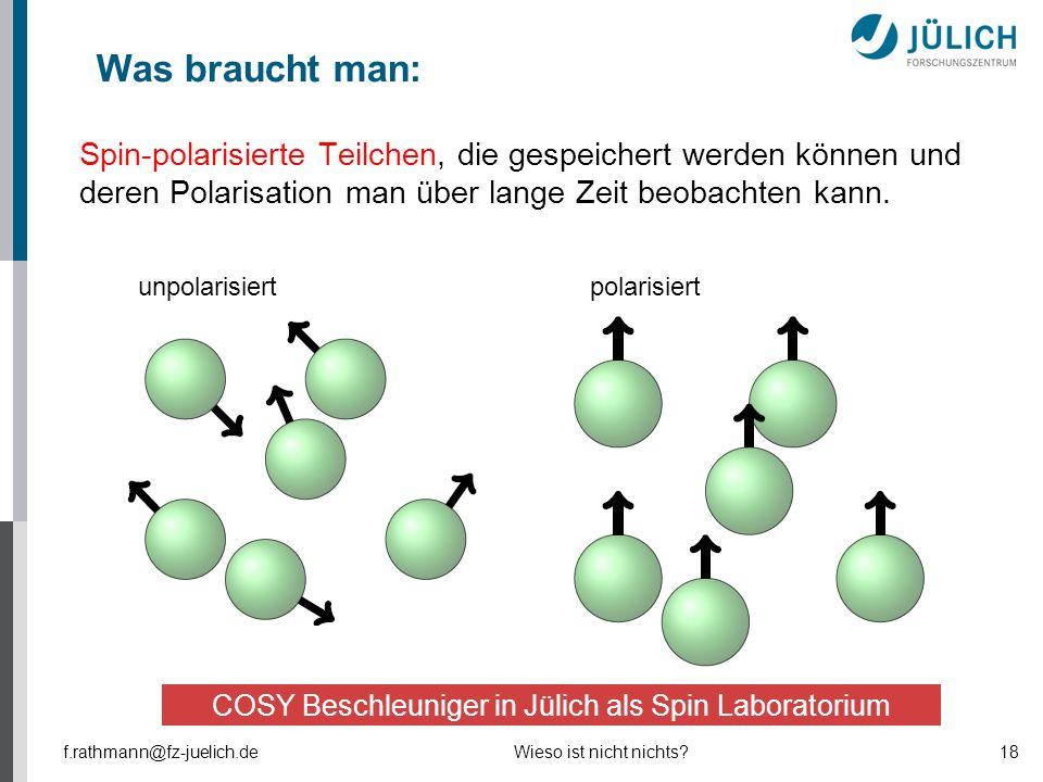 Spin-polarisierte Teilchen, die gespeichert werden können und deren Polarisation man über lange Zeit beobachten kann. polarisiertunpolarisiert f.rathm