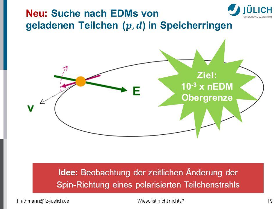 Ziel: 10 -3 x nEDM Obergrenze Idee: Beobachtung der zeitlichen Änderung der Spin-Richtung eines polarisierten Teilchenstrahls f.rathmann@fz-juelich.de