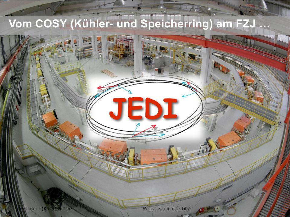 Vom COSY (Kühler- und Speicherring) am FZJ … f.rathmann@fz-juelich.deWieso ist nicht nichts?21