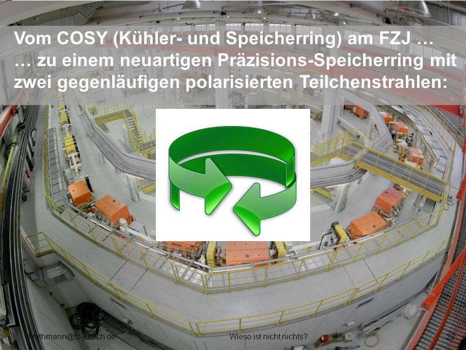 Vom COSY (Kühler- und Speicherring) am FZJ … … zu einem neuartigen Präzisions-Speicherring mit zwei gegenläufigen polarisierten Teilchenstrahlen: f.ra