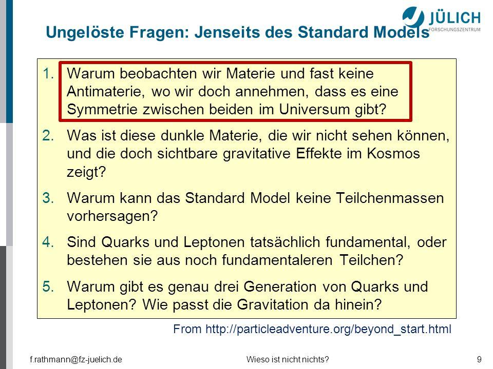 Ungelöste Fragen: Jenseits des Standard Models 1.Warum beobachten wir Materie und fast keine Antimaterie, wo wir doch annehmen, dass es eine Symmetrie