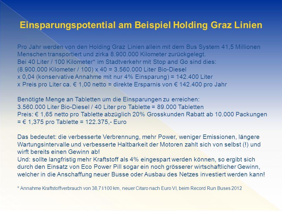 Einsparungspotential am Beispiel Holding Graz Linien Pro Jahr werden von den Holding Graz Linien allein mit dem Bus System 41,5 Millionen Menschen transportiert und zirka 8.900.000 Kilometer zurückgelegt.