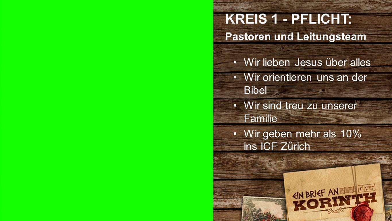 Kreis 1 d KREIS 1 - PFLICHT: Pastoren und Leitungsteam Wir lieben Jesus über alles Wir orientieren uns an der Bibel Wir sind treu zu unserer Familie Wir geben mehr als 10% ins ICF Zürich
