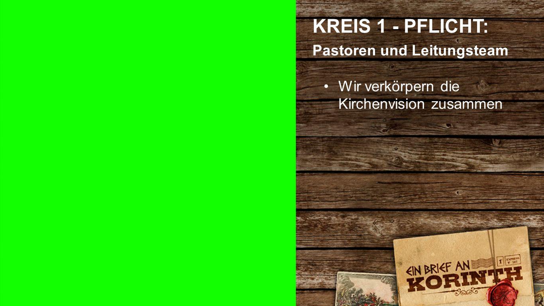 Kreis 1 f KREIS 1 - PFLICHT: Pastoren und Leitungsteam Wir verkörpern die Kirchenvision zusammen