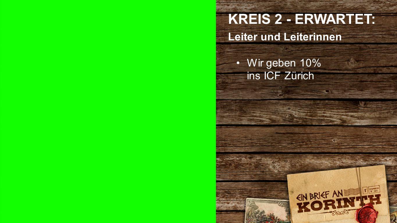 Kreis 2 d KREIS 2 - ERWARTET: Leiter und Leiterinnen Wir geben 10% ins ICF Zürich
