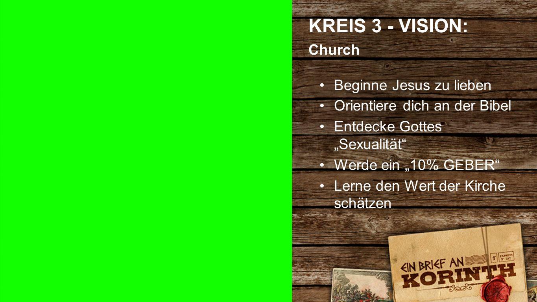 """Kreis 3 e KREIS 3 - VISION: Church Beginne Jesus zu lieben Orientiere dich an der Bibel Entdecke Gottes """"Sexualität Werde ein """"10% GEBER Lerne den Wert der Kirche schätzen"""