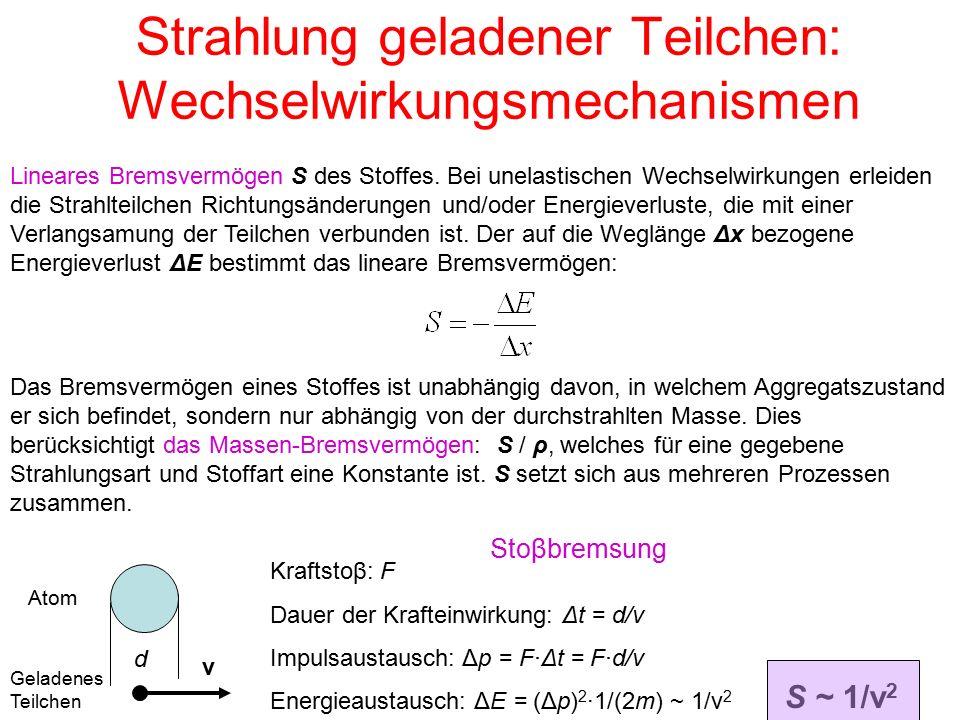 Strahlung geladener Teilchen: Wechselwirkungsmechanismen Lineares Bremsvermögen S des Stoffes.