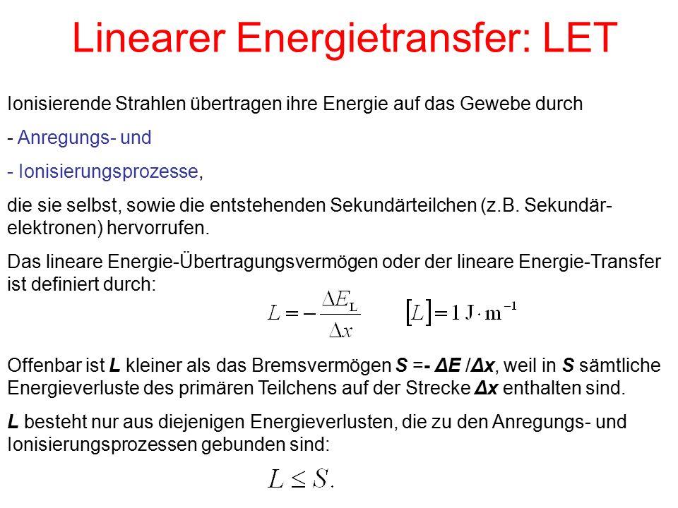 Linearer Energietransfer: LET Ionisierende Strahlen übertragen ihre Energie auf das Gewebe durch - Anregungs- und - Ionisierungsprozesse, die sie selb