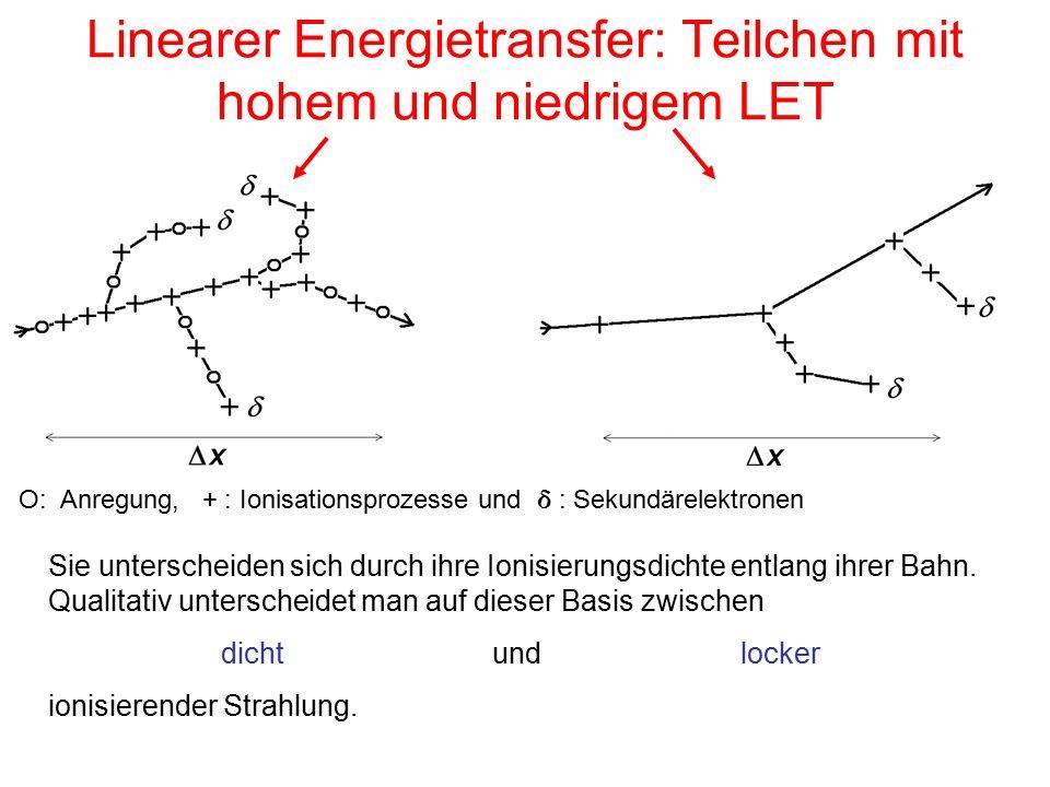 Linearer Energietransfer: Teilchen mit hohem und niedrigem LET Sie unterscheiden sich durch ihre Ionisierungsdichte entlang ihrer Bahn.