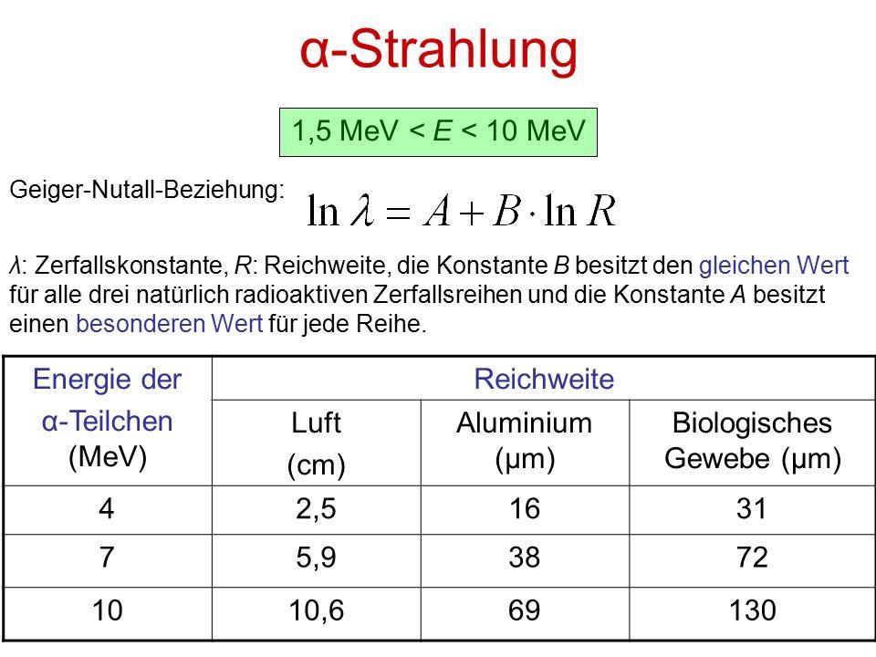 α-Strahlung 1,5 MeV < E < 10 MeV Geiger-Nutall-Beziehung: λ: Zerfallskonstante, R: Reichweite, die Konstante B besitzt den gleichen Wert für alle drei natürlich radioaktiven Zerfallsreihen und die Konstante A besitzt einen besonderen Wert für jede Reihe.