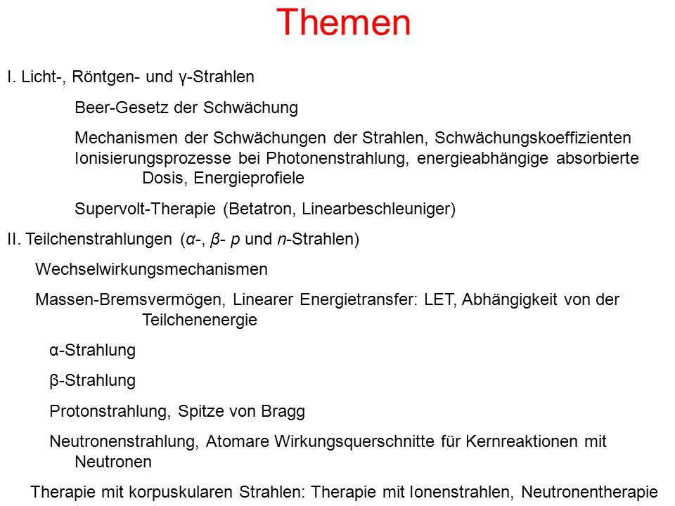 Themen I. Licht-, Röntgen- und γ-Strahlen Beer-Gesetz der Schwächung Mechanismen der Schwächungen der Strahlen, Schwächungskoeffizienten Ionisierungsp