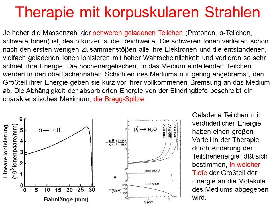 Therapie mit korpuskularen Strahlen Je höher die Massenzahl der schweren geladenen Teilchen (Protonen, α-Teilchen, schwere Ionen) ist, desto kürzer is
