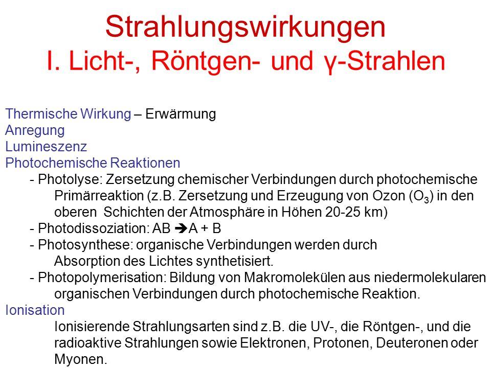 Strahlungswirkungen I. Licht-, Röntgen- und γ-Strahlen Thermische Wirkung – Erwärmung Anregung Lumineszenz Photochemische Reaktionen - Photolyse: Zers
