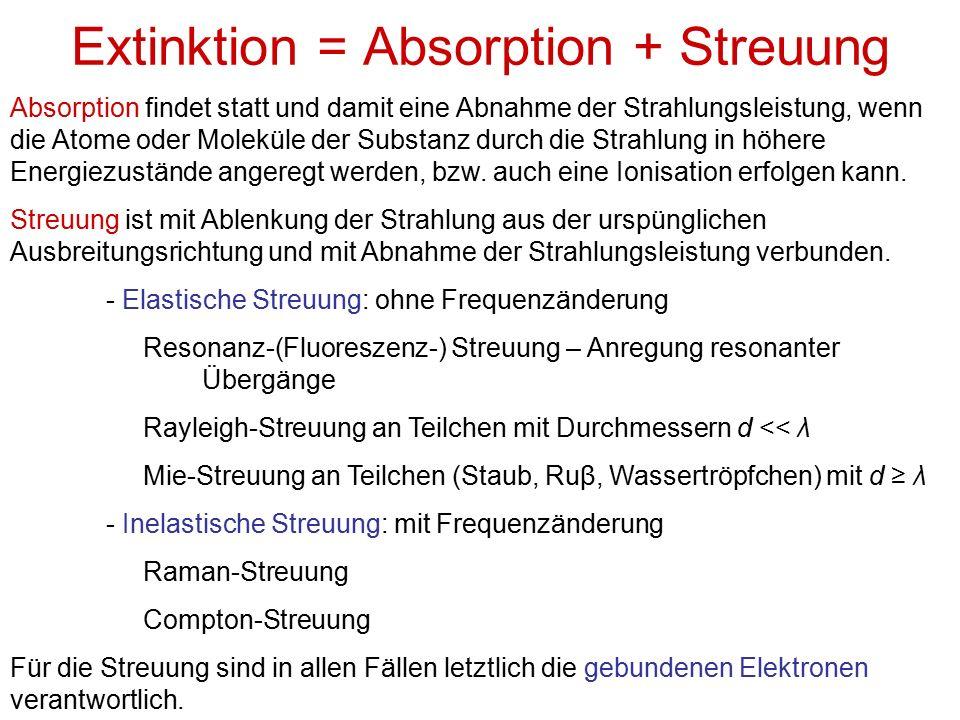 Extinktion = Absorption + Streuung Absorption findet statt und damit eine Abnahme der Strahlungsleistung, wenn die Atome oder Moleküle der Substanz durch die Strahlung in höhere Energiezustände angeregt werden, bzw.