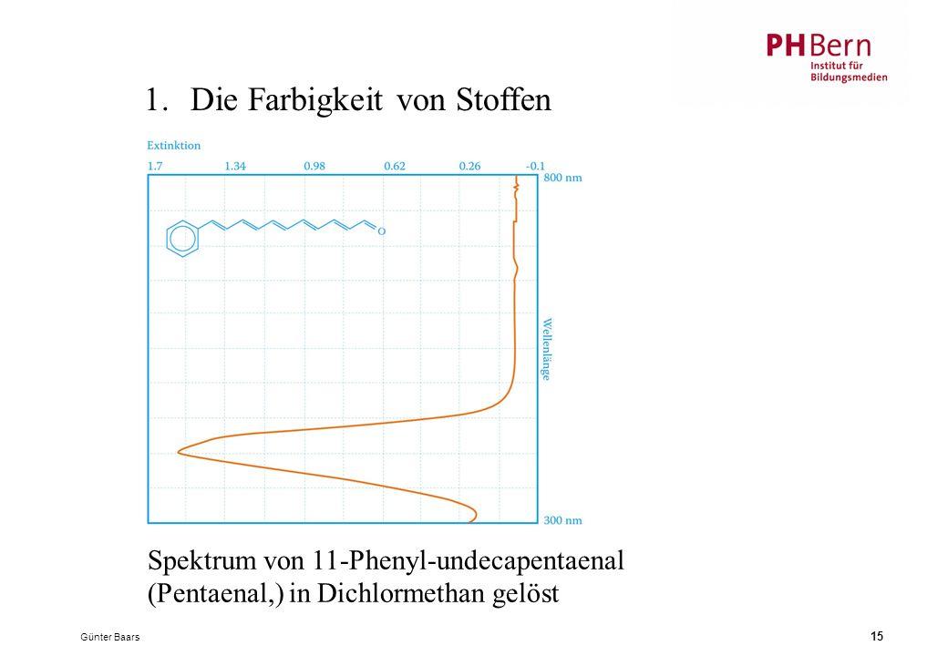 Günter Baars 15 1.Die Farbigkeit von Stoffen Spektrum von 11-Phenyl-undecapentaenal (Pentaenal,) in Dichlormethan gelöst
