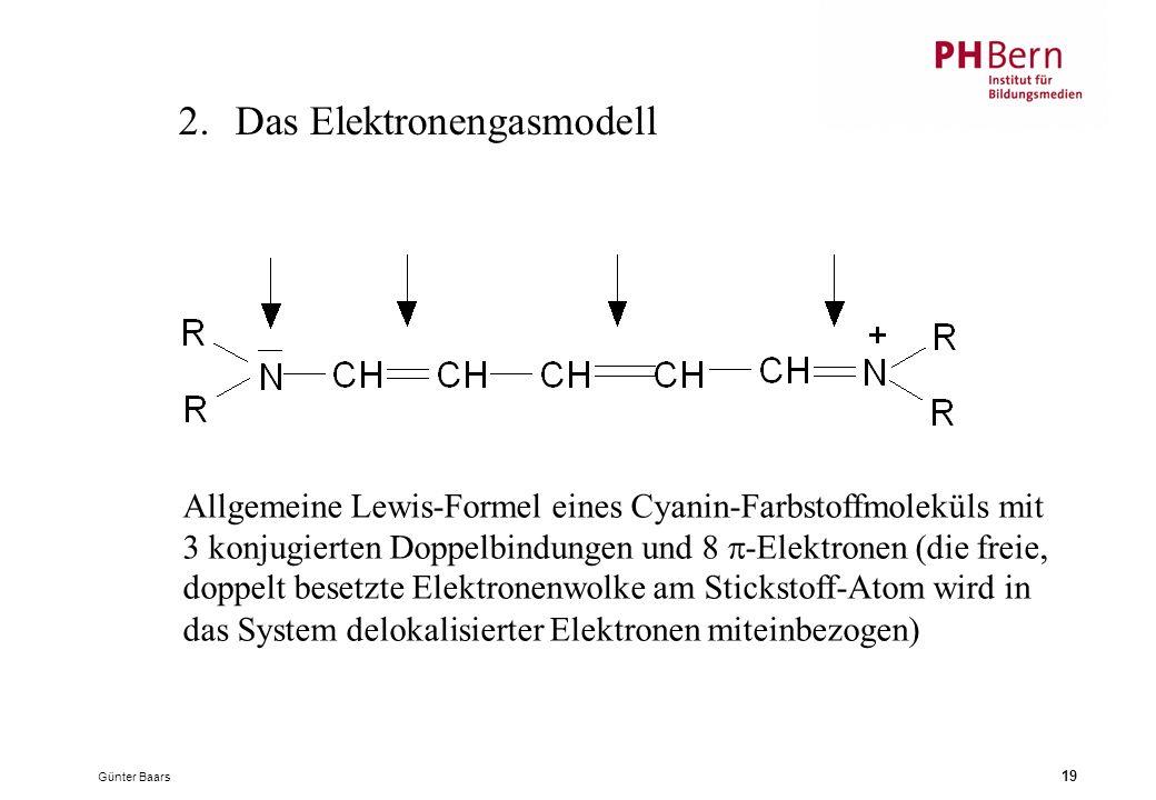 Günter Baars 19 2.Das Elektronengasmodell Allgemeine Lewis-Formel eines Cyanin-Farbstoffmoleküls mit 3 konjugierten Doppelbindungen und 8  -Elektronen (die freie, doppelt besetzte Elektronenwolke am Stickstoff-Atom wird in das System delokalisierter Elektronen miteinbezogen)