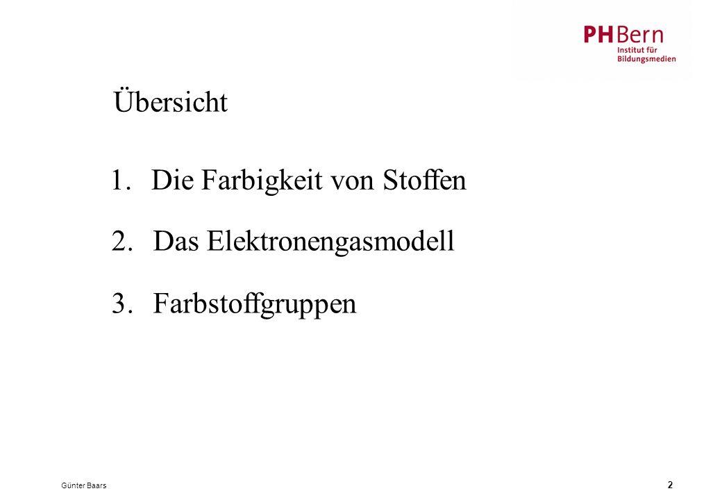 Günter Baars 2 Übersicht 2.Das Elektronengasmodell 3.Farbstoffgruppen 1.Die Farbigkeit von Stoffen