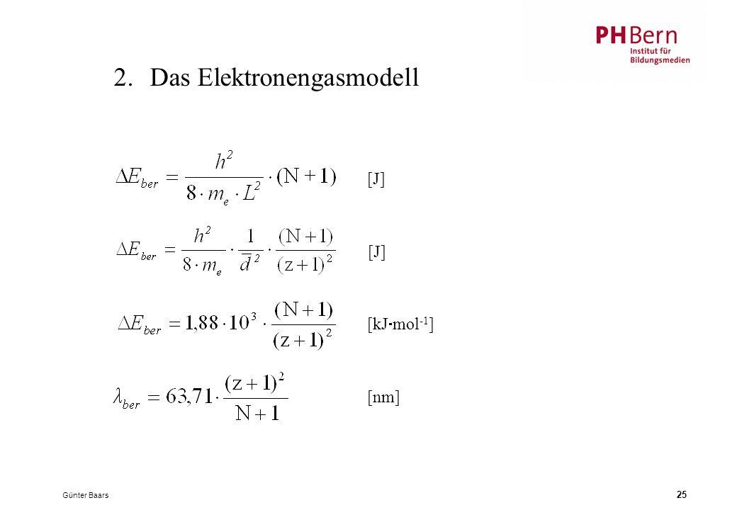 Günter Baars 25 2.Das Elektronengasmodell [J] [kJ  mol -1 ] [nm]
