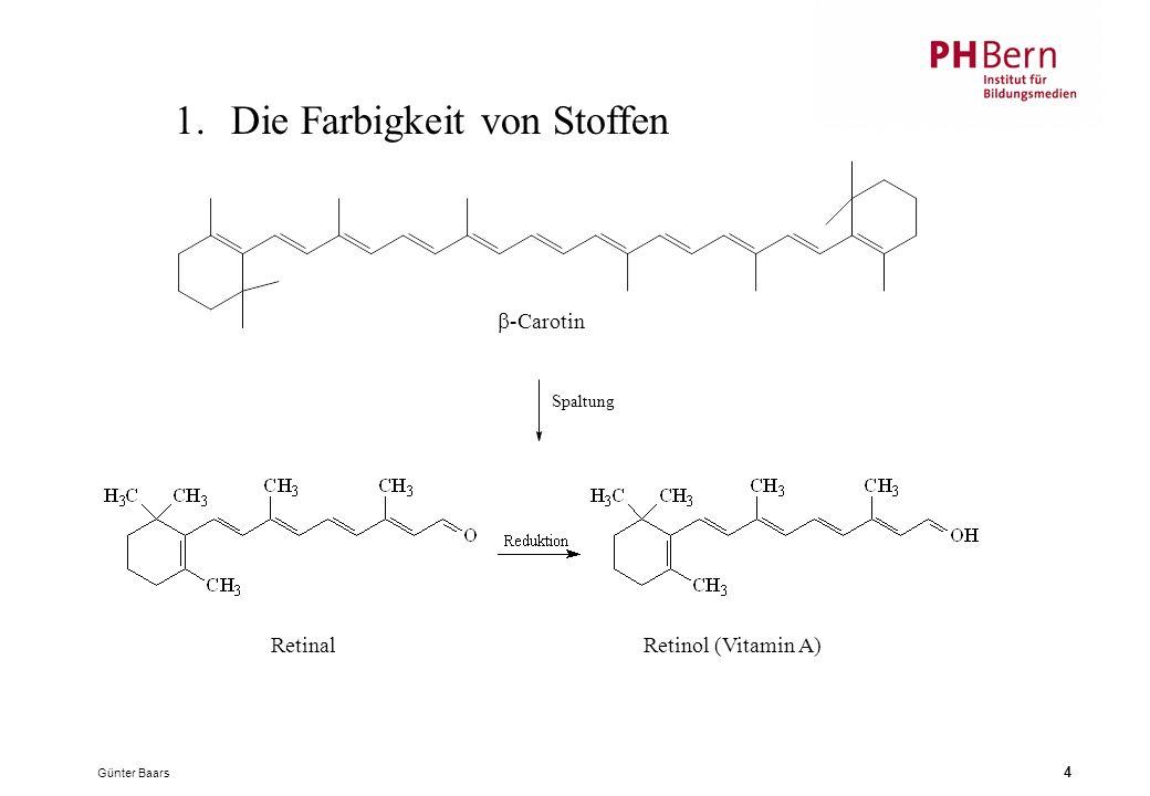 Günter Baars 4 1.Die Farbigkeit von Stoffen RetinalRetinol (Vitamin A) Spaltung  -Carotin