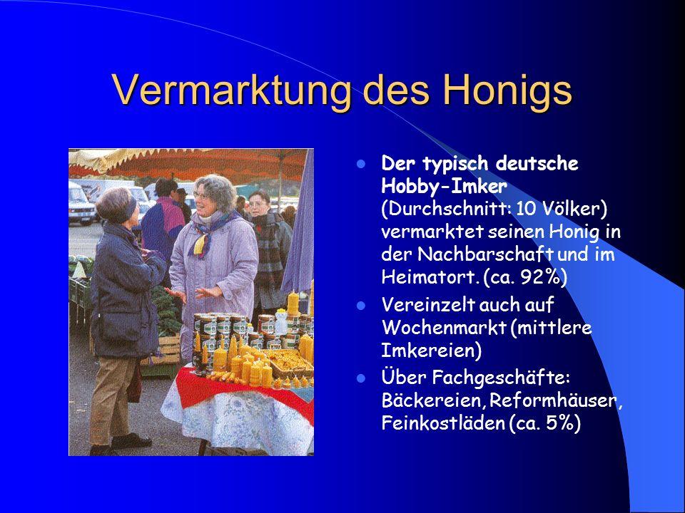 Vermarktung des Honigs Der typisch deutsche Hobby-Imker (Durchschnitt: 10 Völker) vermarktet seinen Honig in der Nachbarschaft und im Heimatort. (ca.