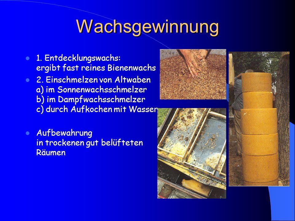 Wachsgewinnung 1. Entdecklungswachs: ergibt fast reines Bienenwachs 2. Einschmelzen von Altwaben a) im Sonnenwachsschmelzer b) im Dampfwachsschmelzer