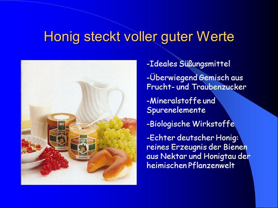 Honig steckt voller guter Werte -Ideales Süßungsmittel -Überwiegend Gemisch aus Frucht- und Traubenzucker -Mineralstoffe und Spurenelemente -Biologisc