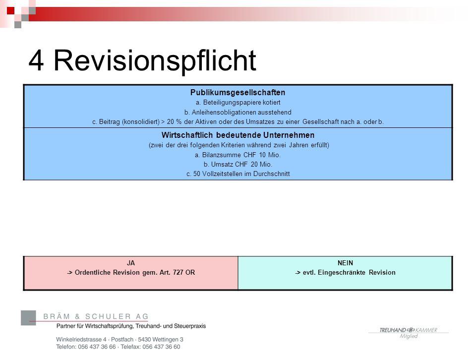4 Revisionspflicht Publikumsgesellschaften a. Beteiligungspapiere kotiert b.