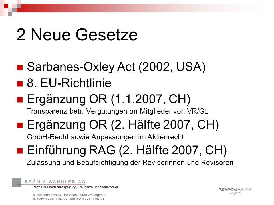 2 Neue Gesetze Sarbanes-Oxley Act (2002, USA) 8. EU-Richtlinie Ergänzung OR (1.1.2007, CH) Transparenz betr. Vergütungen an Mitglieder von VR/GL Ergän
