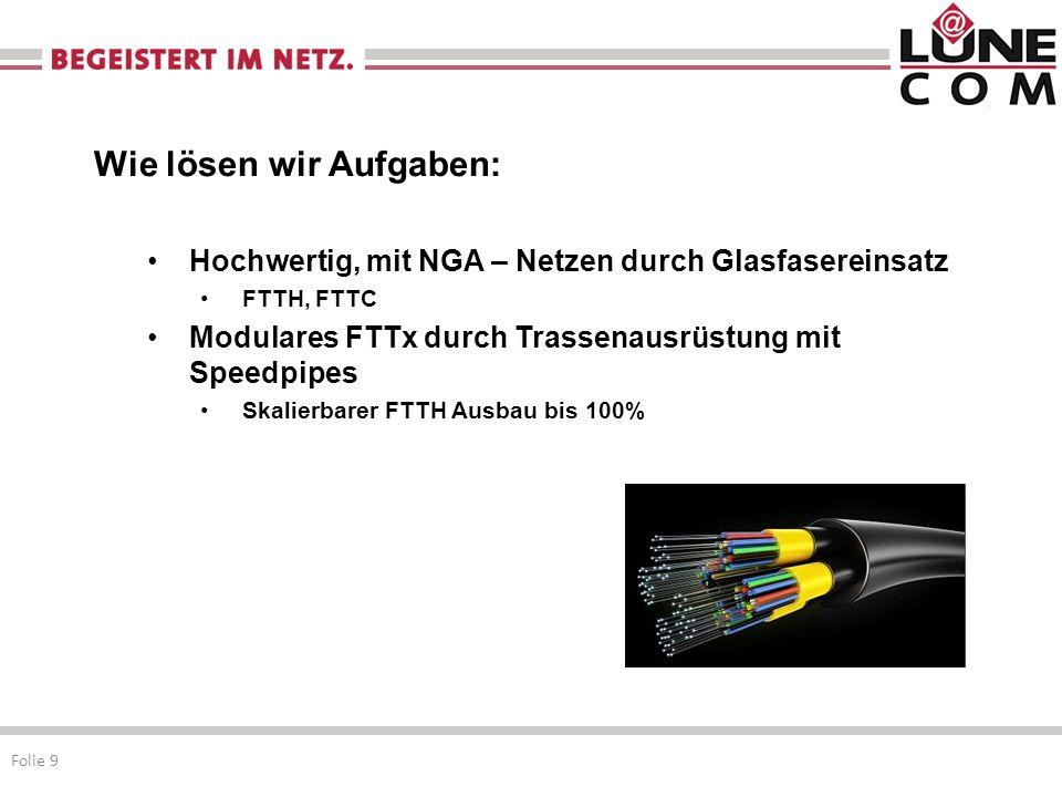 Wie lösen wir Aufgaben: Hochwertig, mit NGA – Netzen durch Glasfasereinsatz FTTH, FTTC Modulares FTTx durch Trassenausrüstung mit Speedpipes Skalierbarer FTTH Ausbau bis 100% Folie 9