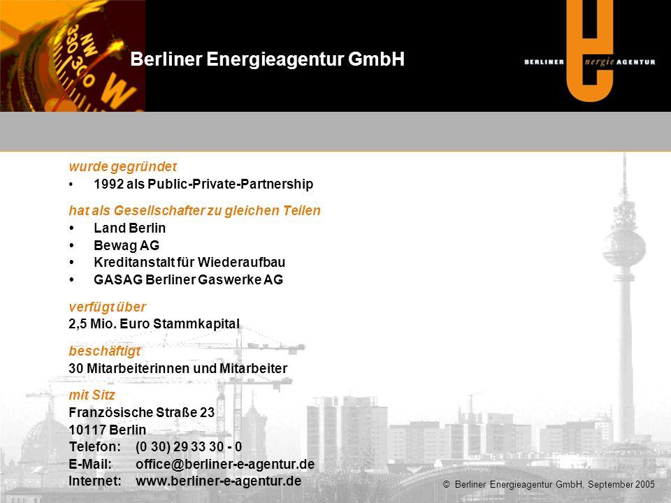 wurde gegründet 1992 als Public-Private-Partnership hat als Gesellschafter zu gleichen Teilen  Land Berlin  Bewag AG  Kreditanstalt für Wiederaufbau  GASAG Berliner Gaswerke AG verfügt über 2,5 Mio.