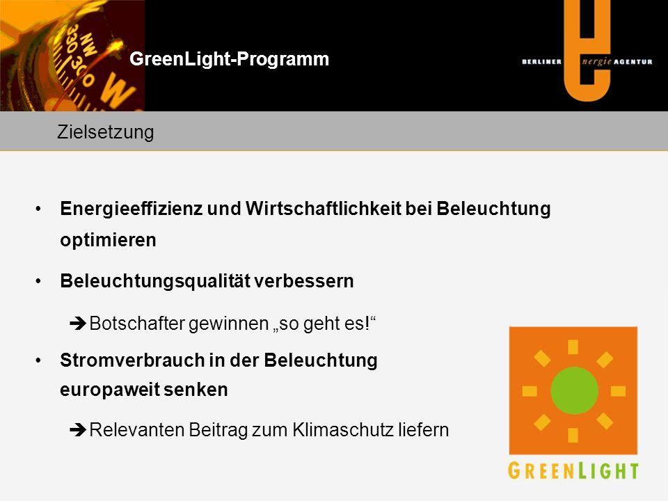 """GreenLight-Programm Energieeffizienz und Wirtschaftlichkeit bei Beleuchtung optimieren Beleuchtungsqualität verbessern  Botschafter gewinnen """"so geht es! Stromverbrauch in der Beleuchtung europaweit senken  Relevanten Beitrag zum Klimaschutz liefern Zielsetzung"""