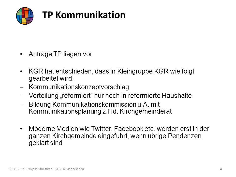 """TP Kommunikation Anträge TP liegen vor KGR hat entschieden, dass in Kleingruppe KGR wie folgt gearbeitet wird:  Kommunikationskonzeptvorschlag  Verteilung """"reformiert nur noch in reformierte Haushalte  Bildung Kommunikationskommission u.A."""