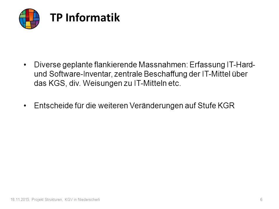 TP Informatik Diverse geplante flankierende Massnahmen: Erfassung IT-Hard- und Software-Inventar, zentrale Beschaffung der IT-Mittel über das KGS, div.