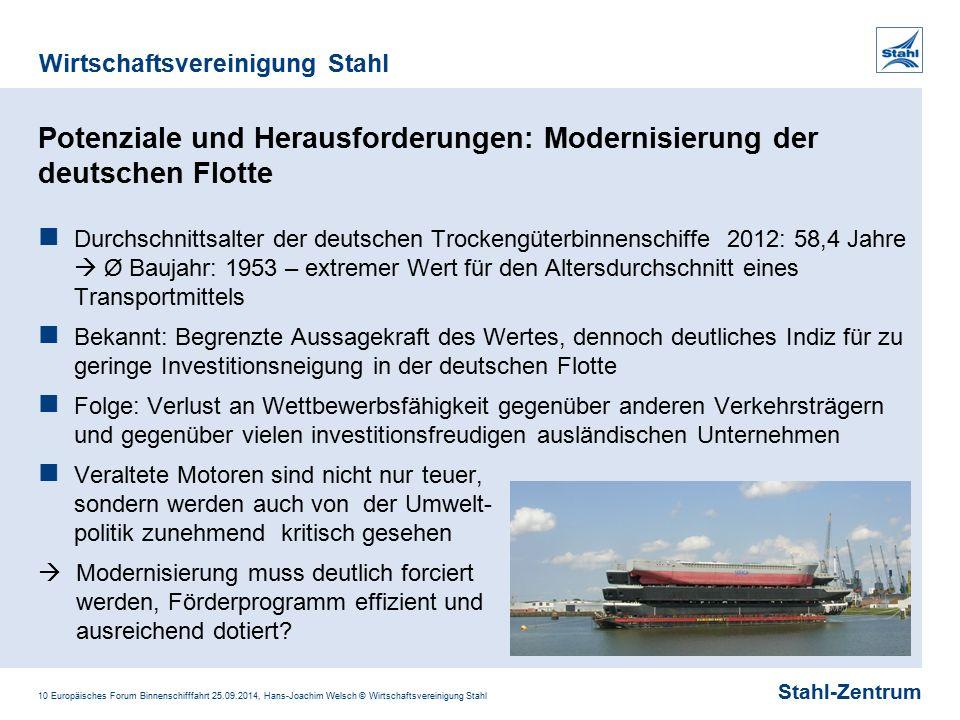 Stahl-Zentrum Wirtschaftsvereinigung Stahl 10 Europäisches Forum Binnenschifffahrt 25.09.2014, Hans-Joachim Welsch © Wirtschaftsvereinigung Stahl Pote