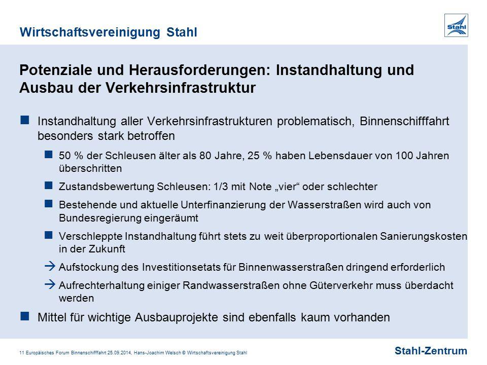 Stahl-Zentrum Wirtschaftsvereinigung Stahl 11 Europäisches Forum Binnenschifffahrt 25.09.2014, Hans-Joachim Welsch © Wirtschaftsvereinigung Stahl Pote
