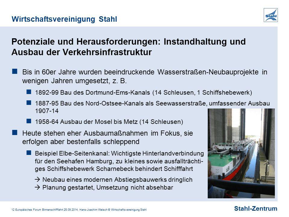 Stahl-Zentrum Wirtschaftsvereinigung Stahl 12 Europäisches Forum Binnenschifffahrt 25.09.2014, Hans-Joachim Welsch © Wirtschaftsvereinigung Stahl Pote