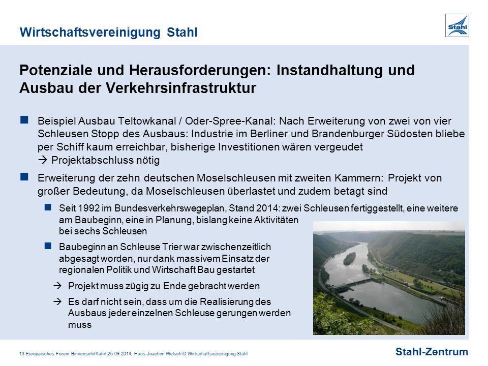 Stahl-Zentrum Wirtschaftsvereinigung Stahl 13 Europäisches Forum Binnenschifffahrt 25.09.2014, Hans-Joachim Welsch © Wirtschaftsvereinigung Stahl Pote