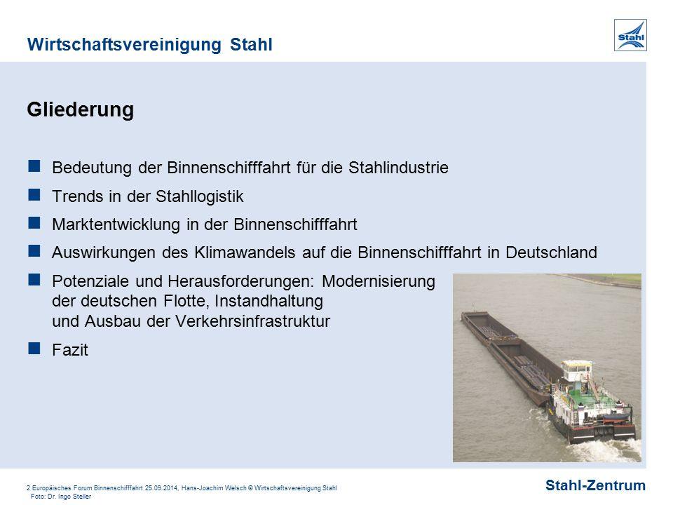 Stahl-Zentrum Wirtschaftsvereinigung Stahl 2 Europäisches Forum Binnenschifffahrt 25.09.2014, Hans-Joachim Welsch © Wirtschaftsvereinigung Stahl Glied