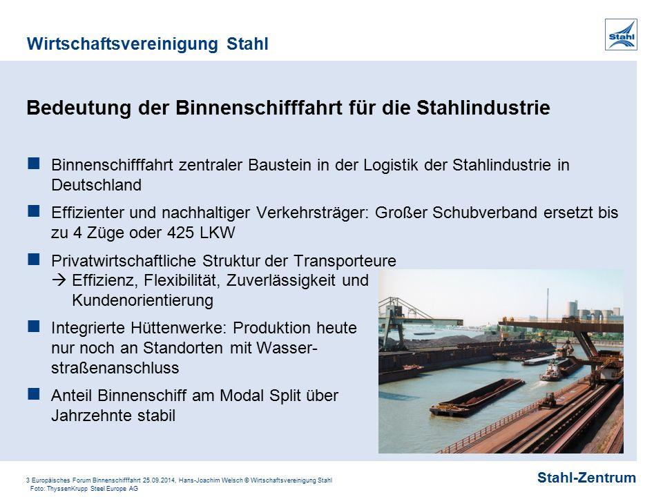 Stahl-Zentrum Wirtschaftsvereinigung Stahl 3 Europäisches Forum Binnenschifffahrt 25.09.2014, Hans-Joachim Welsch © Wirtschaftsvereinigung Stahl Bedeu