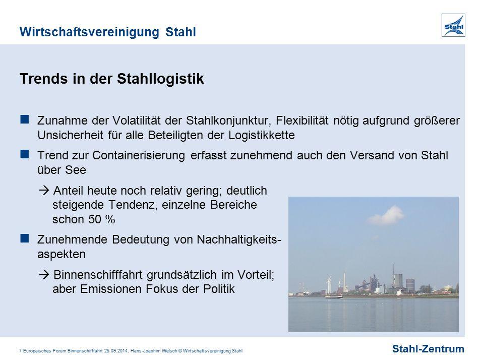 Stahl-Zentrum Wirtschaftsvereinigung Stahl 7 Europäisches Forum Binnenschifffahrt 25.09.2014, Hans-Joachim Welsch © Wirtschaftsvereinigung Stahl Trend