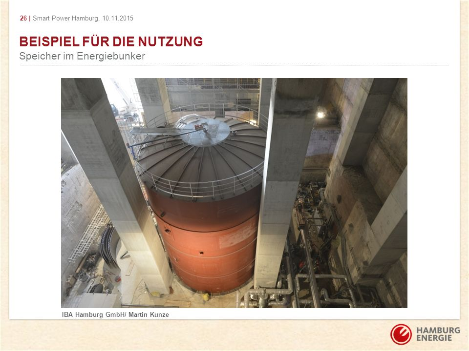 26 | Smart Power Hamburg, 10.11.2015 BEISPIEL FÜR DIE NUTZUNG Speicher im Energiebunker IBA Hamburg GmbH/ Martin Kunze
