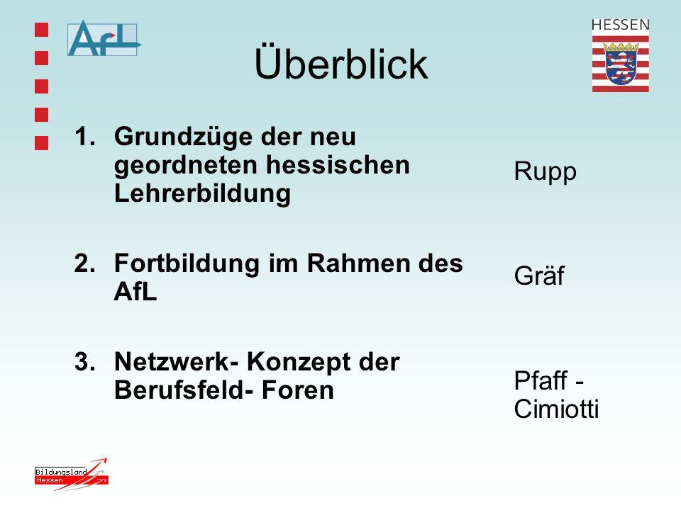 Grundzüge der neu geordneten hessischen Lehrerbildung Herr Rupp, Abteilungsleiter IV AfL