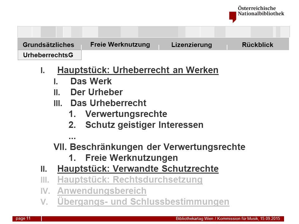 Freie Werknutzung Grundsätzliches Bibliothekartag Wien / Kommission für Musik, 15.09.2015 LizenzierungRückblick page 11 I.