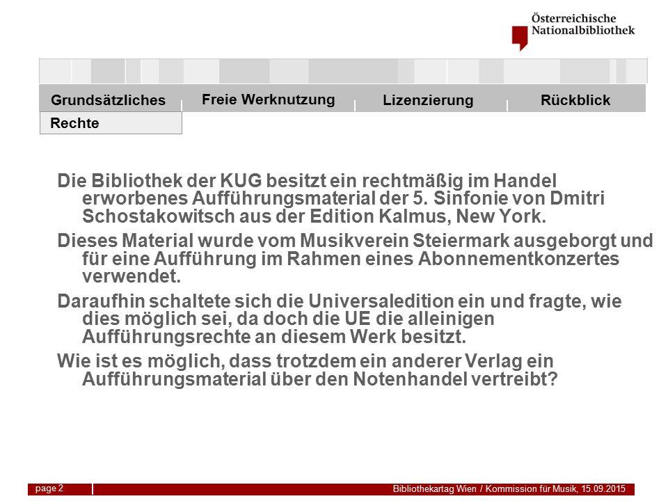Freie Werknutzung Grundsätzliches Bibliothekartag Wien / Kommission für Musik, 15.09.2015 LizenzierungRückblick page 2 Die Bibliothek der KUG besitzt ein rechtmäßig im Handel erworbenes Aufführungsmaterial der 5.