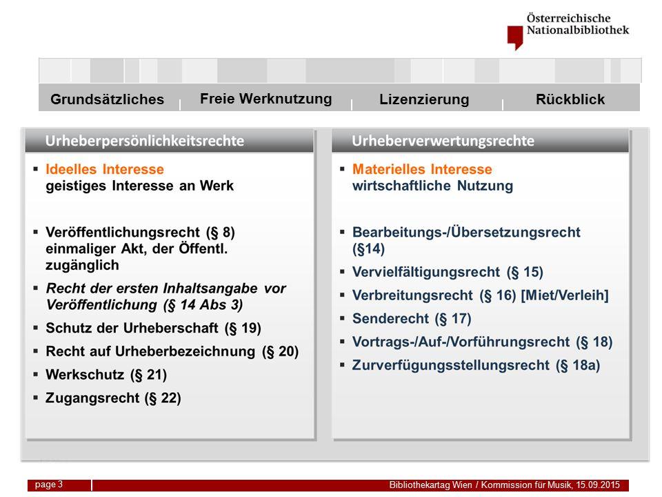 Freie Werknutzung Grundsätzliches Bibliothekartag Wien / Kommission für Musik, 15.09.2015 LizenzierungRückblick page 24 Vervielfältigung Bücher und Musikdrucke dürfen nicht komplett kopiert werden.