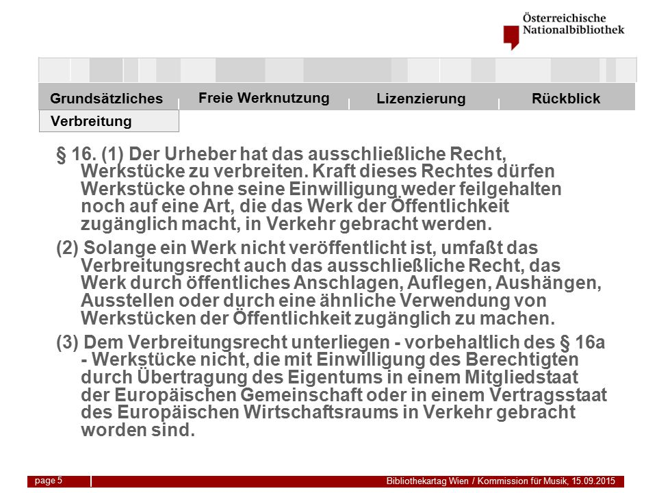 Freie Werknutzung Grundsätzliches Bibliothekartag Wien / Kommission für Musik, 15.09.2015 LizenzierungRückblick page 26 3-Stufen-Test Revidierte Berner Übereinkunft Eine Ausnahme vom generellen Vervielfältigungsrecht des Urhebers ist unter den Voraussetzungen zulässig, dass 1.