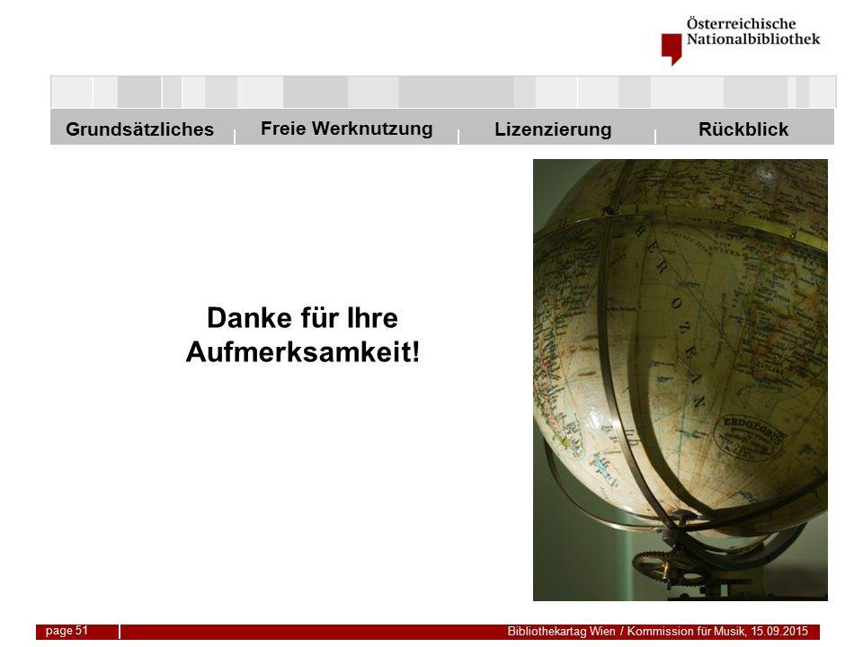 Freie Werknutzung Grundsätzliches Bibliothekartag Wien / Kommission für Musik, 15.09.2015 LizenzierungRückblick Danke für Ihre Aufmerksamkeit.