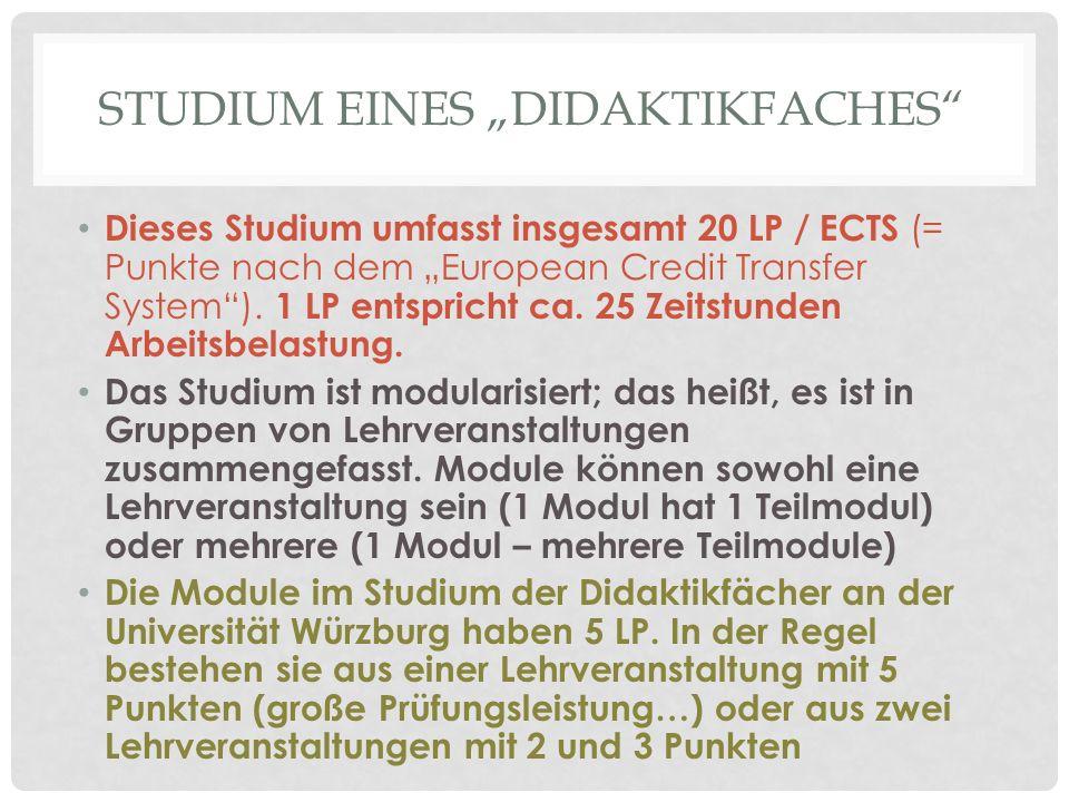 """STUDIUM EINES """"DIDAKTIKFACHES"""" Dieses Studium umfasst insgesamt 20 LP / ECTS (= Punkte nach dem """"European Credit Transfer System""""). 1 LP entspricht ca"""