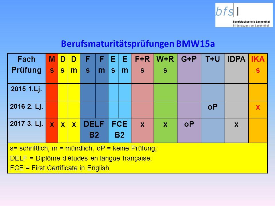 Berufsmaturitätsprüfungen BMW15a Fach Prüfung MsMs DsDs DmDm FsFs FmFm EsEs EmEm F+R s W+R s G+PT+UIDPAIKA s 2015 1.Lj.